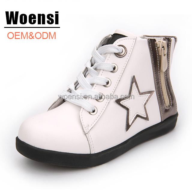 new arrival style white color side zipper kids high cut sneakers children ankle boots shoes