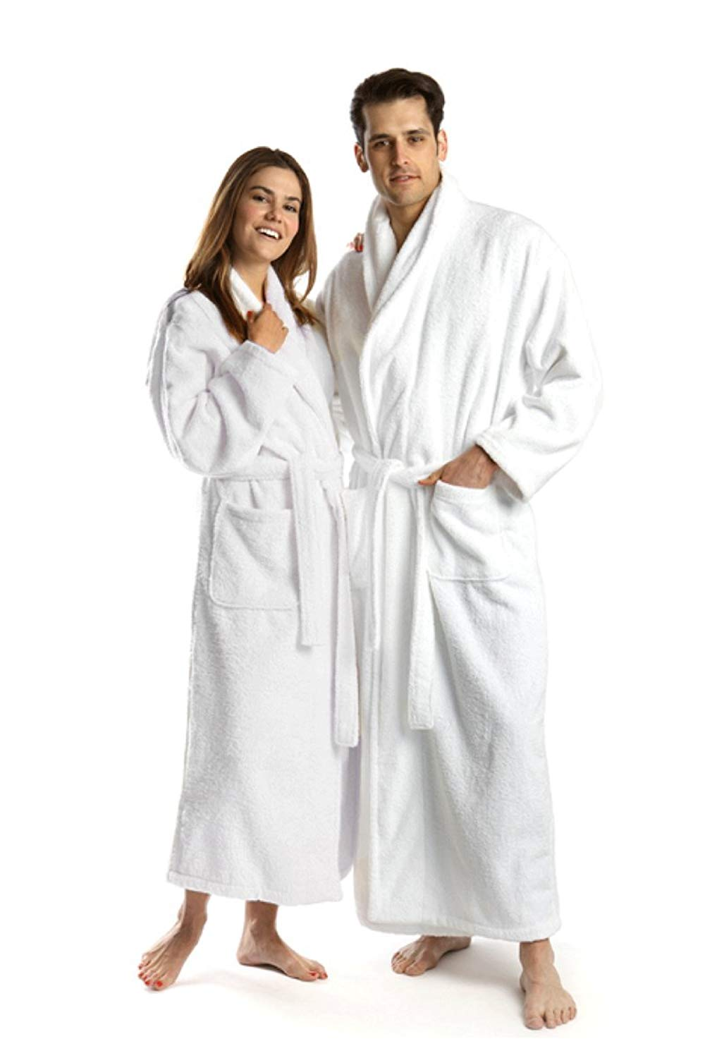 5210ec19ce Get Quotations · CRYSTAL WHITE Unisex Hooded Velour Bathrobe- 100% Plush  Cotton Hotel Spa Robes -