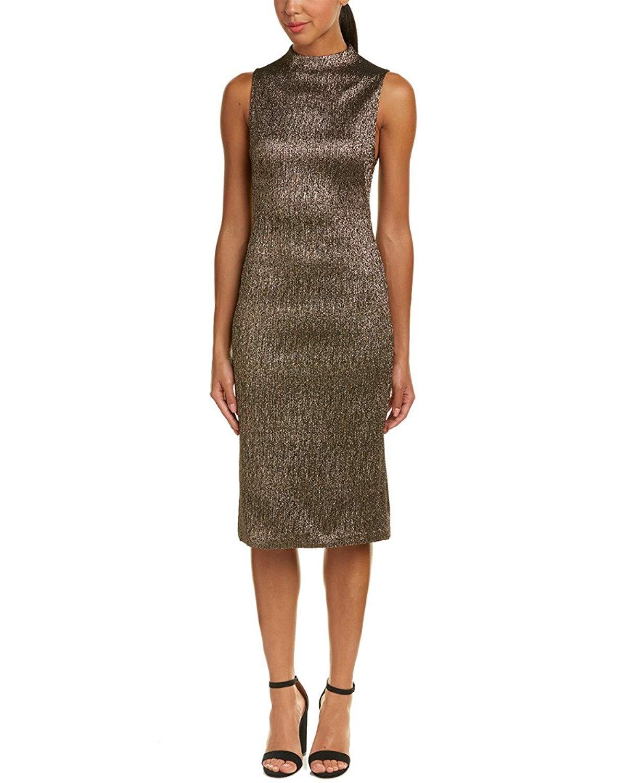 alice + olivia Womens Marcella Sheath Dress, 4, Metallic
