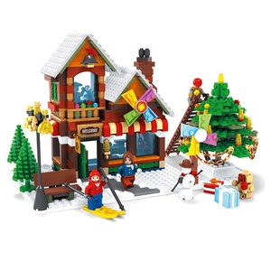 Toy Shop Christmas City 2018 New 812PCS Mini DIY Building Block XMAS Bricks Noel Toys Plastic With TreeAn imal Sleigh Horse Gift