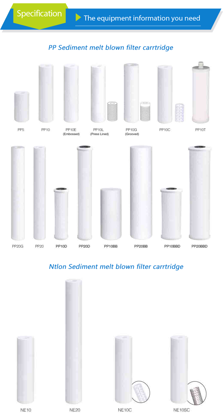10 inch pp smelt geblazen sediment filter cartridge met 5 micron