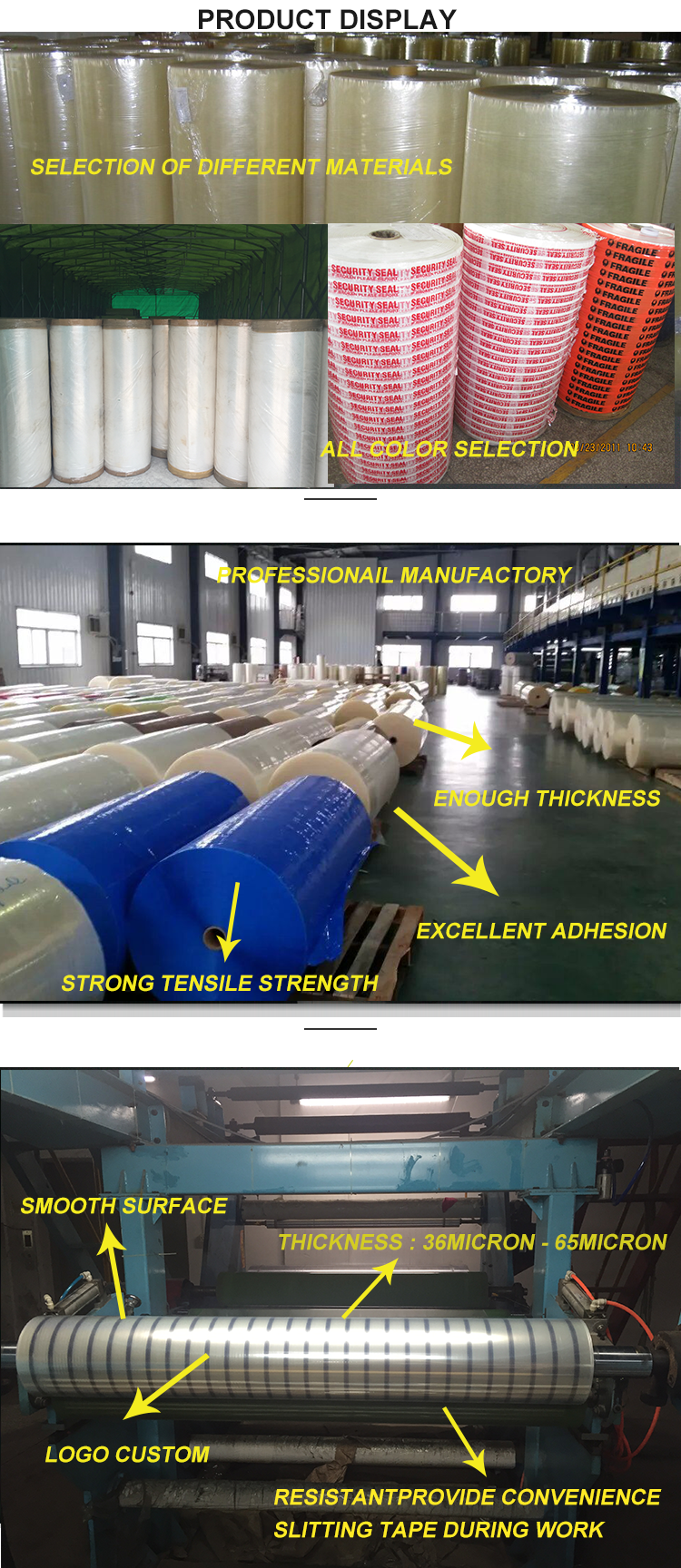 Any Color Selection Bopp Tape Jumbo Roll With Great Price