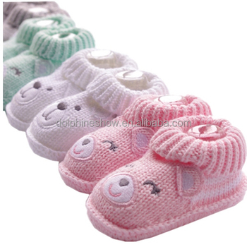 2016 New Warm Animal Knitted Baby Shoe Winter Warm Cute Crochet Baby