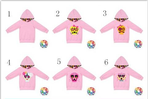 0-6 Years Old Girls Hoodies Skull & Heart Print Baby Valentines Tops Long Sleeve Fashion Hoody