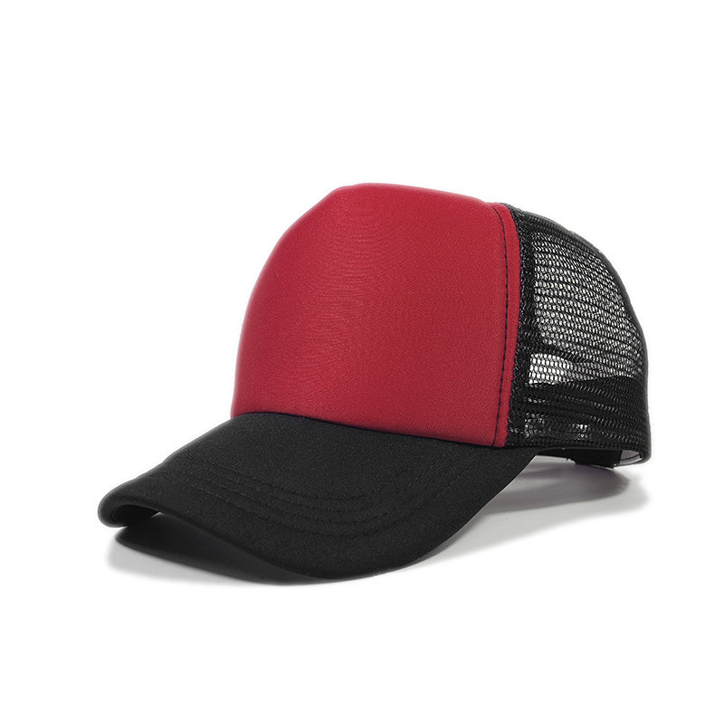 cool girl summer headwear Chinese red blended black white tones plain blank foam trucker mesh caps <strong>hats</strong>