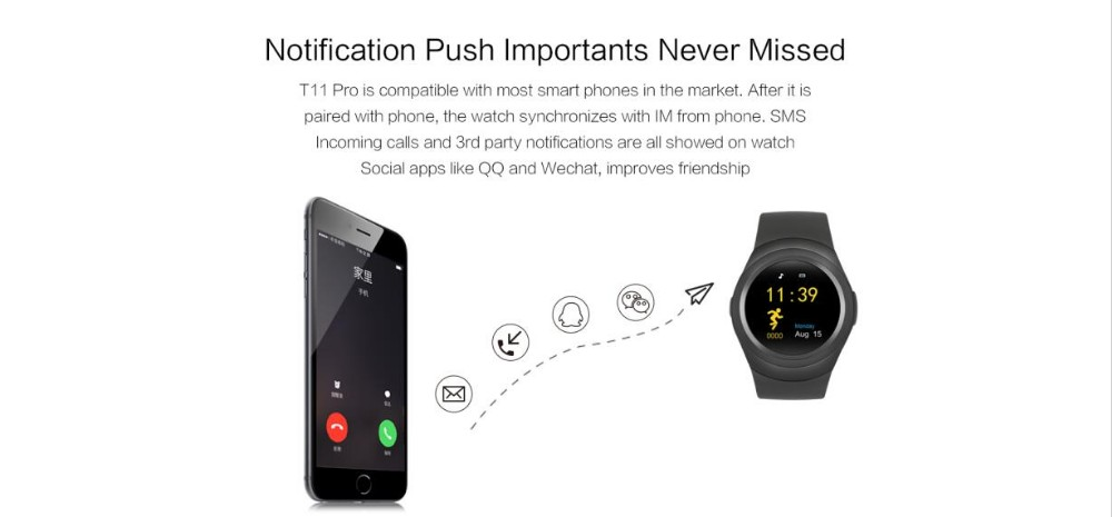 Smartwatch T11 Bluetooth Smart Watch Nano SIM Card & Full circle Display IPS Display Heart Rate Monitor Sleep Tracker Pedometer