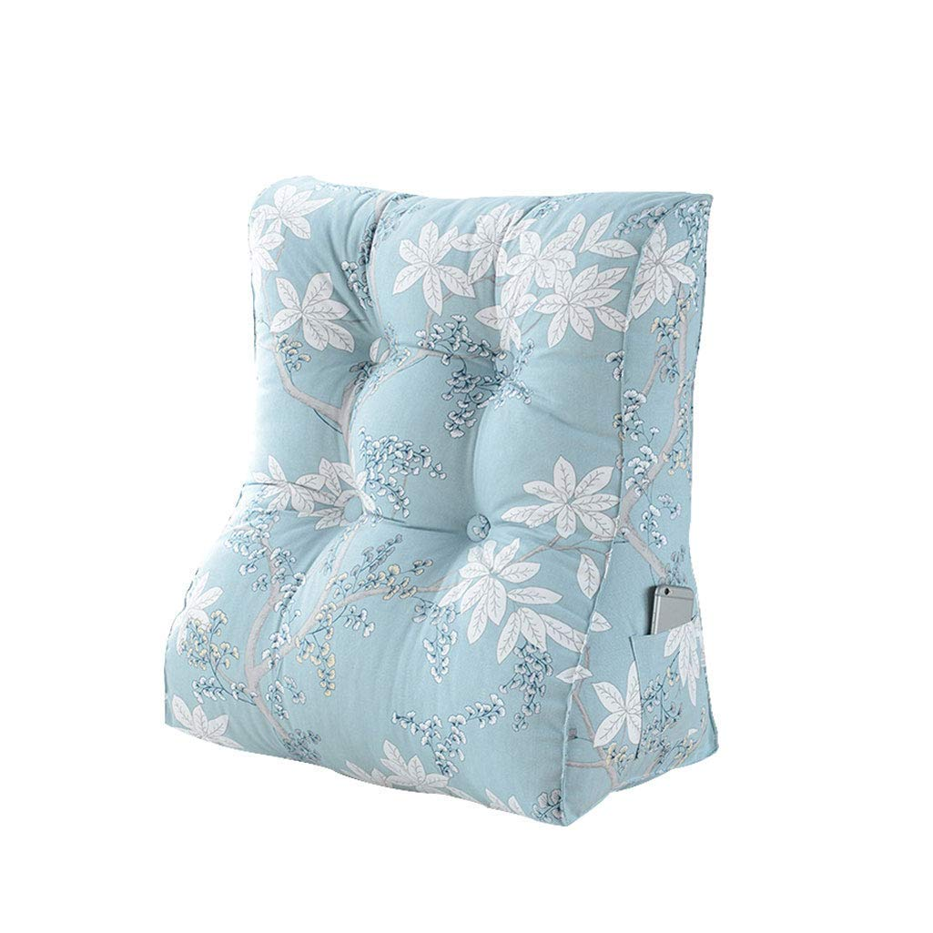 Backrest, Reading Pillow, Triangle Back Bedside Office Neck Protector Removable Washable Pillow (Color : Light Blue, Size : Medium)