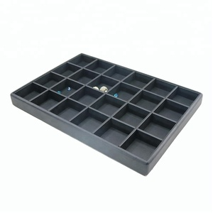 Light Black PU Leather Stackable Charms Jewelry Display Tray