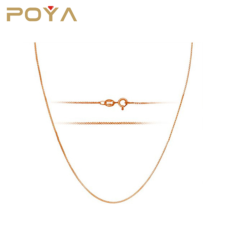 POYA Jewelry 18k Rose Gold Plated 1mm Sterling Silver Italian Box Chain Necklace Available 14 inch- 36 inch