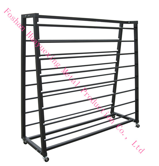 A Frame Double Sided Metal Curtain Display Rack Fabric