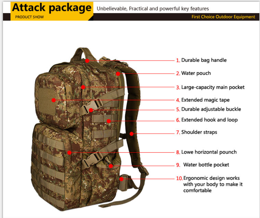 Army hunting equipment bags military tactical backpack for men outdoor