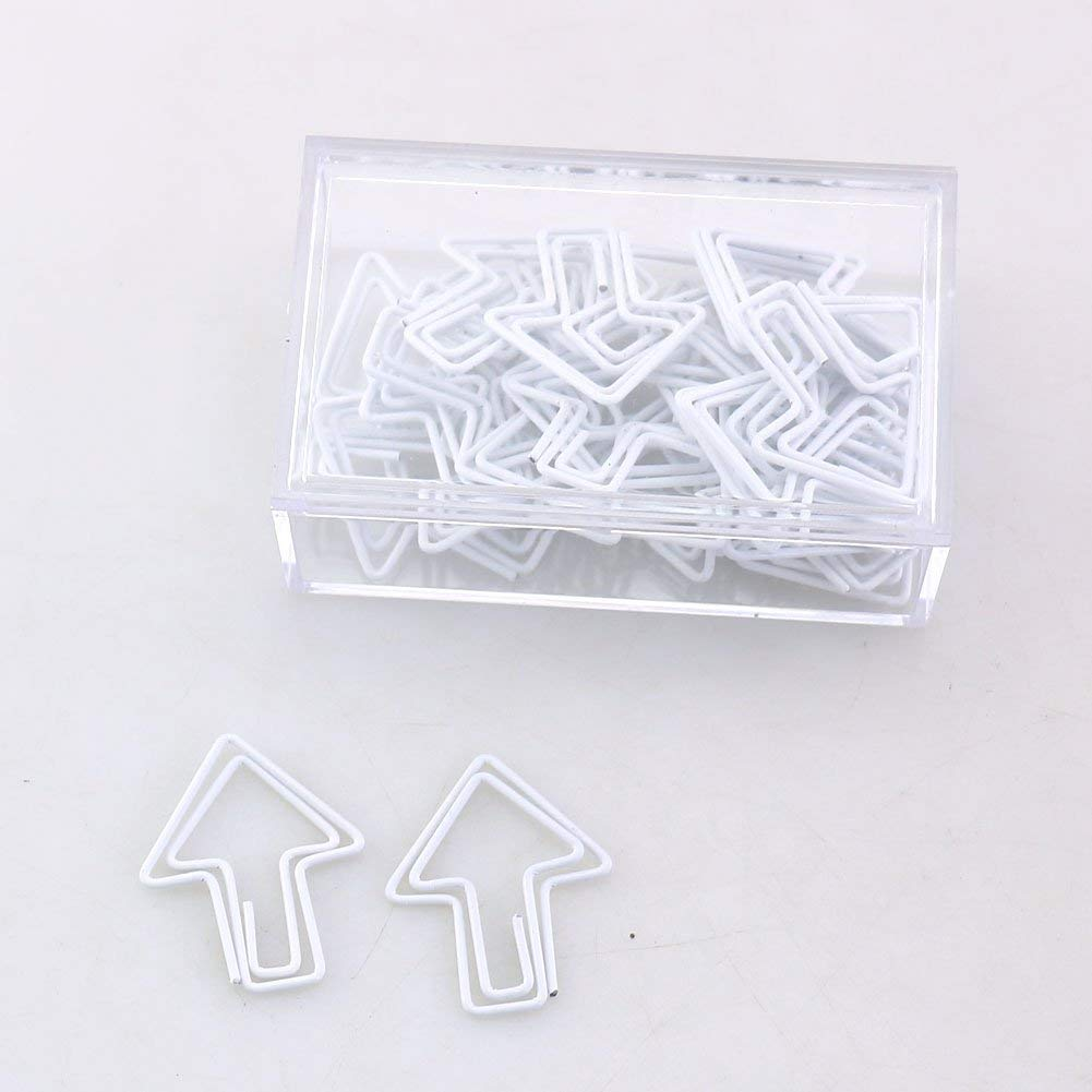 OUTU 30pcs Metal Material number arrow Shape Paper Clips candy Colors Funny Bookmark Office School Stationery Marking Clip H0005 (white)