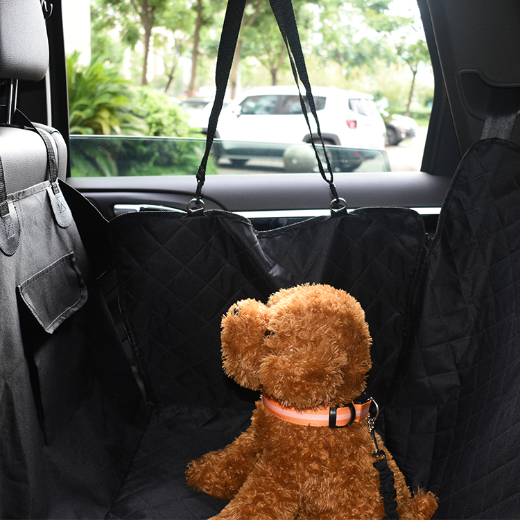 Non slip padded  pet car seat cover luxury Pet car mat with holder