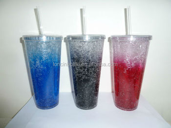 400ml Plastic Tumbler Double Wall Insulated Freezer Gel