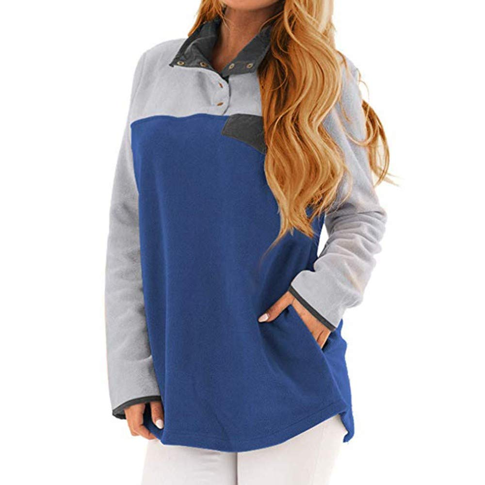 Gobling Womens Casual Color Block Stand Collar Pocket Soft Fleece Sweatshirt Pullover (Color : Blue, Size : L)