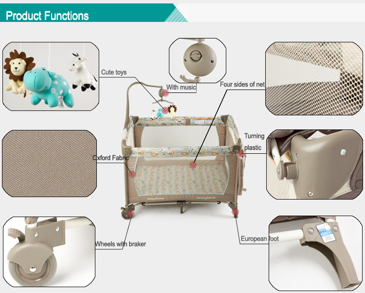 Folding Portable Baby Cot Play Pen Colorful Baby Play Yard ...