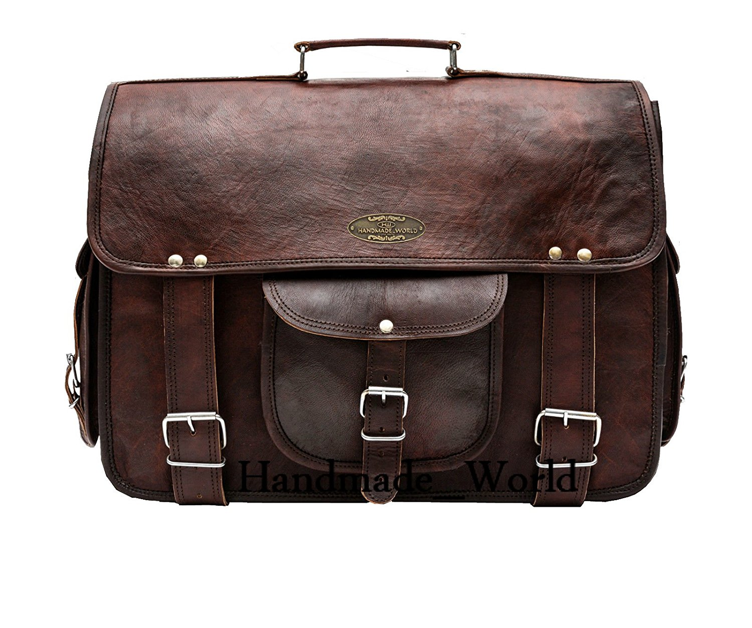 "Handmade_World leather messenger bags for men women 16"" mens briefcase laptop bag best computer shoulder satchel school distressed bag"