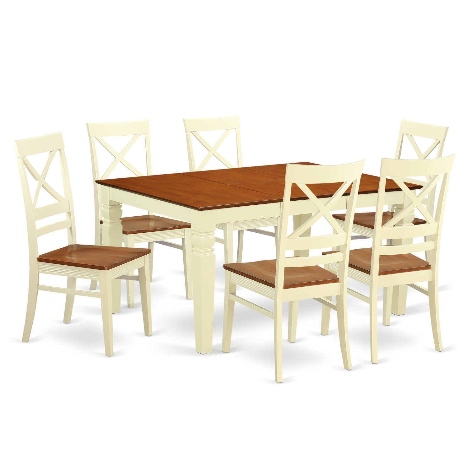 East West Furniture Weston WEQU7-BMK-W 7 Pc Kitchen Set With a Dinning Table And 6 Wood Dining Chairs, Buttermilk and Cherry