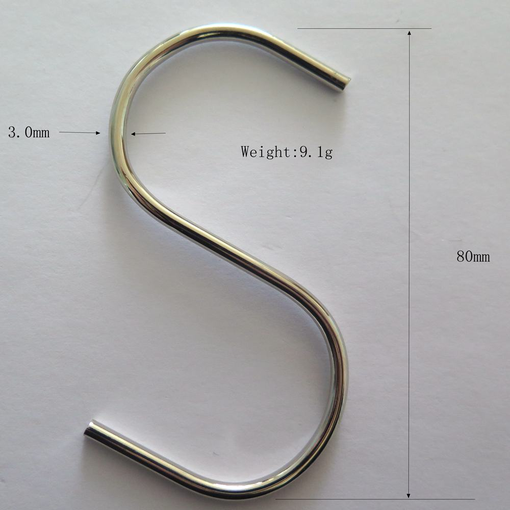 S Shape Chrome Finish Hanging Hooks for Kitchenware , Pots , Utensils , Plants , Towels , Gardening Tools , Clot