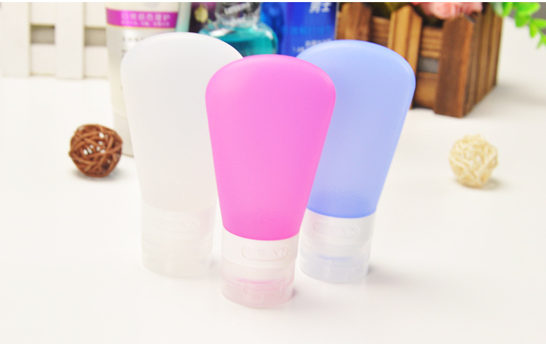 MarcosWJH Portable Travel Bottles Set Bonus with Facial Brush-Silicone Travel Bottle,Air Travel Bottle with Storage Bag
