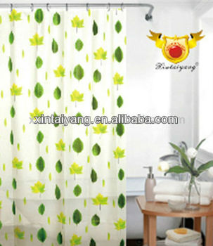 Curtains Made In China Leaf Design PEVA Plastic Mildew Free Shower Curtain