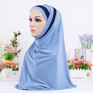 Wholesale cheap high quality dubai shawls scarf hijab 2 pieces with cap