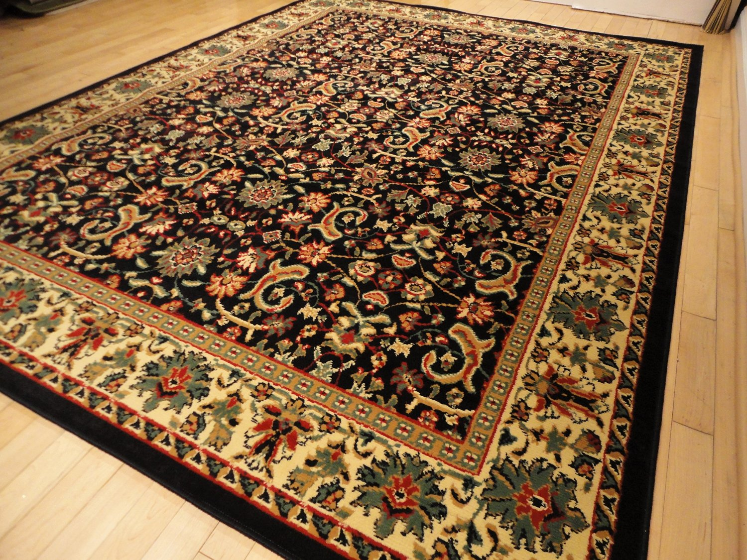 Buy Black Traditional Rug Large 8x11 Area Rugs Black Persian 8x10