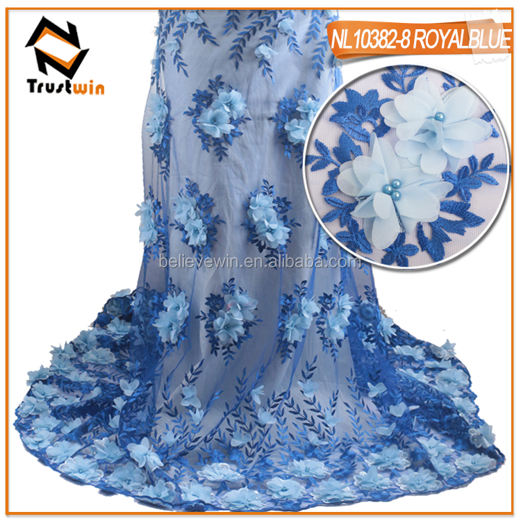 Royalblue embroidery designs adding 3D flower lace tulle lace fabric french lace