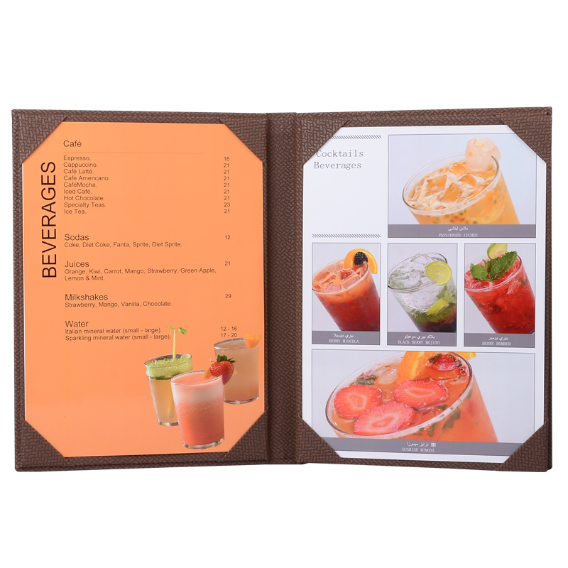 Shenzhen hot sale restaurant fashion leather menu covers