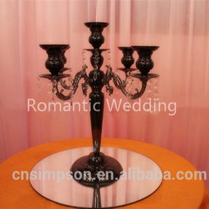Black metal table 5 arms candelabra with crystal beads for wedding decoration centerpiece