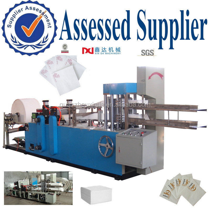 1/4 folded multi color printed embossed paper napkin serviette tissue cutting equipment converting machine to make square napkin