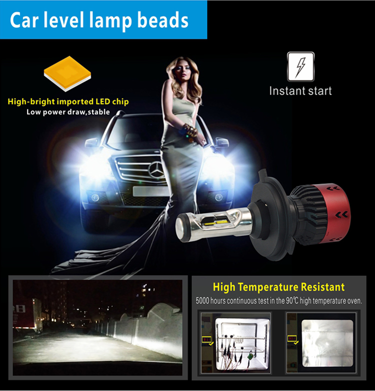 Easier installation new series V6S LED headlight bulb 35W 6000K 12V 4800LM suitable for all cars