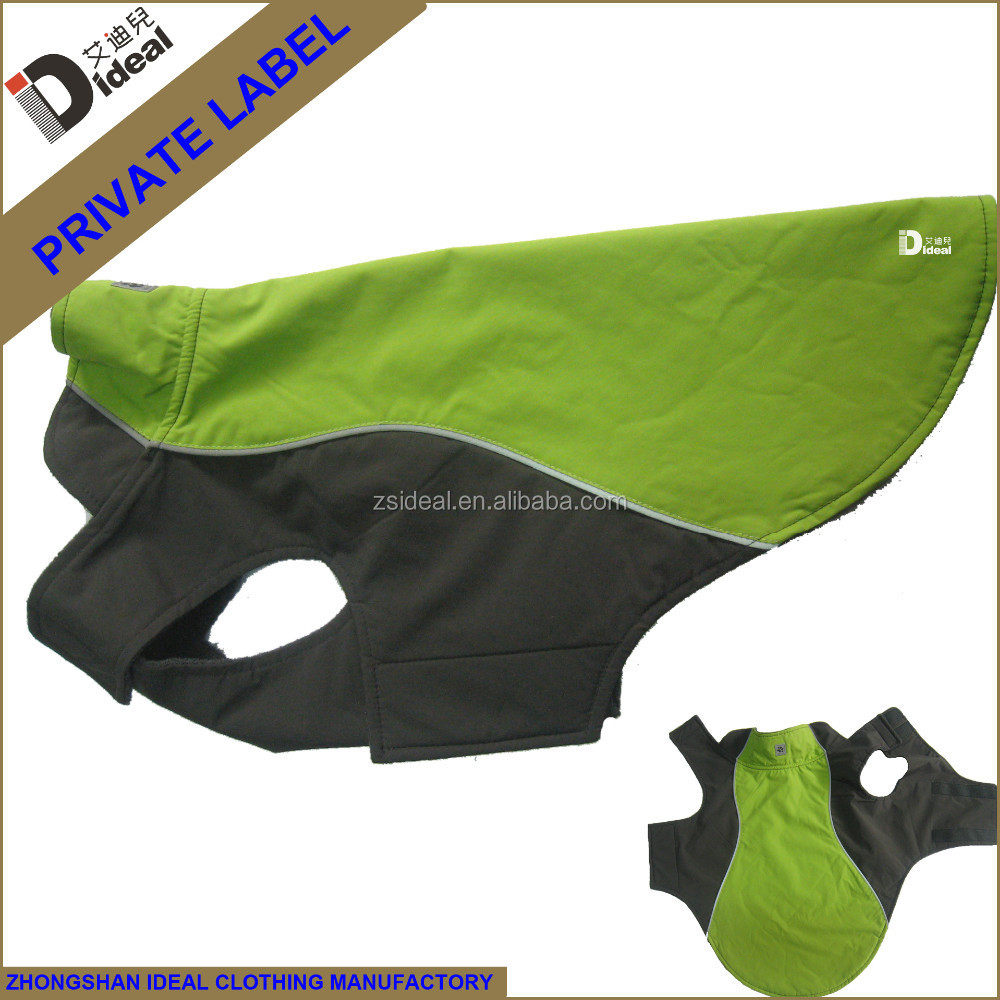 Fashion green nylon/polar fleece waterproof/heated dog ski jacket