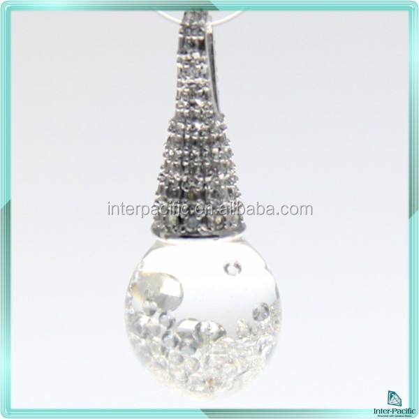 Hot Sale Shining 3D Floating Gemstones CZ 925 Silver Sterling Pendants