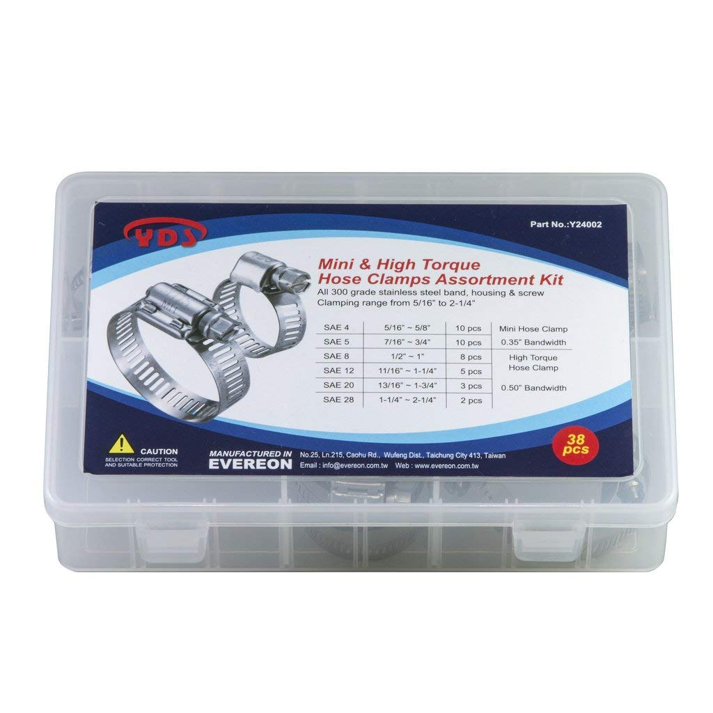 "YDS 38 Pieces Mini & High Torque Hose Clamps Assortment Kit, All 300 Grade Stainless Steel, SAE Size: 4 (5/8""), 5 (3/4""), 8 (1""), 12 (1-1/4""), 20 (1-3/4""), 28 (2-1/4"")"