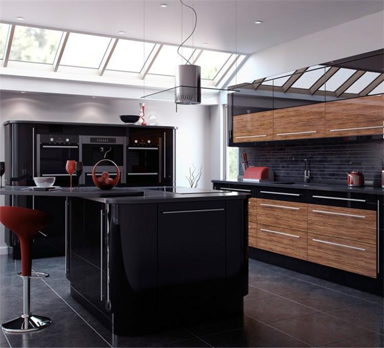 L vormige keuken ontwerp moderne keuken kast zwart en bruin keuken ...