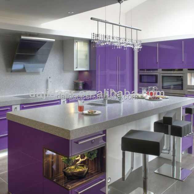 High Gloss Purple Kitchen Cabinet Modern Dj K243