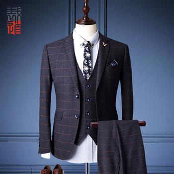 Manufacture Good Quality Designer Wool Plaid 3 Piece Suit