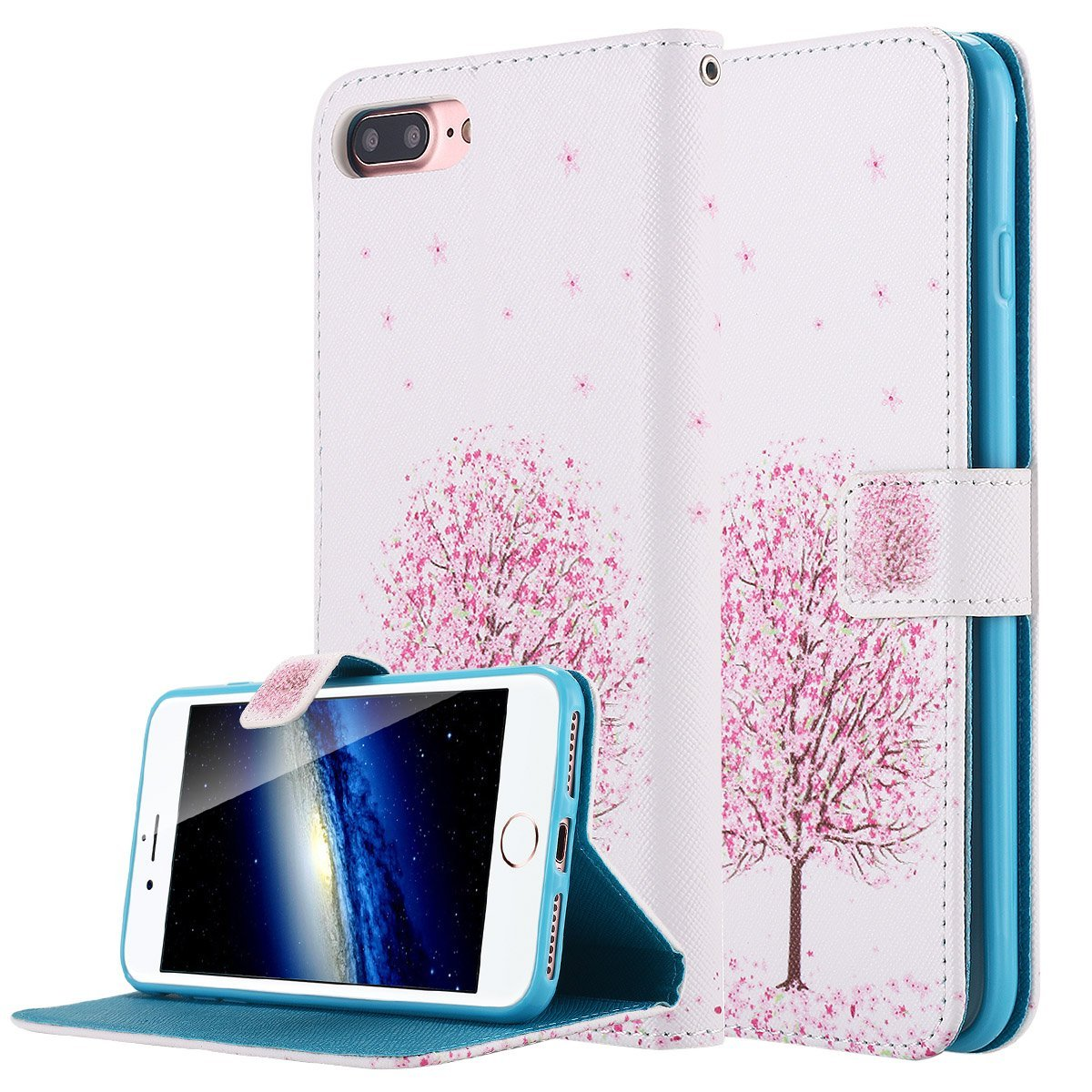 iPhone 7 Plus Case, LONTECT Unique Pattern PU Leather Stand Flip Wallet Case Cover with Card Slot Holder for Apple iPhone 7 Plus - Sukura