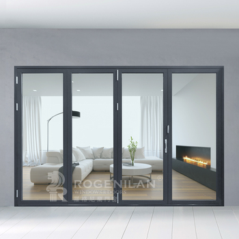 ROGENILAN 75 Series Soundproof Glass Bifold Doors/interior Glass French  Doors/lowes Glass Interior