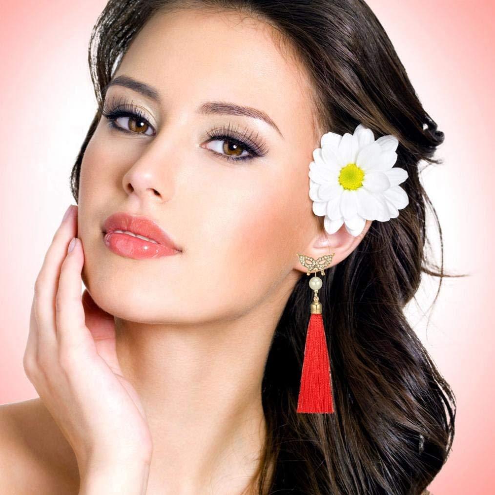 Gyoume Women Butterfly Pearl Tassel Ear Stud Rhinestones Earrings Lady Girls Tassel Earrings Wool Earring