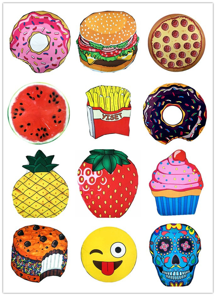 Factory direct sell 150cm fruit And Donut Custom Printing Pattern microfiber beach towel