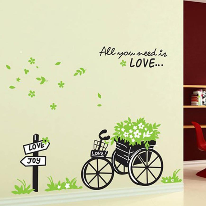Fashion Heaven Fresh Nature Green Bicycle Wall Sticker Decal DIY Love Encounter Romantic Art Home Decor Free Shipping Mar14