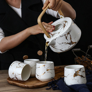 Best Selling Marble Design Porcelain 4 Pieces Coffee Cup Ceramic Tea Pot Set