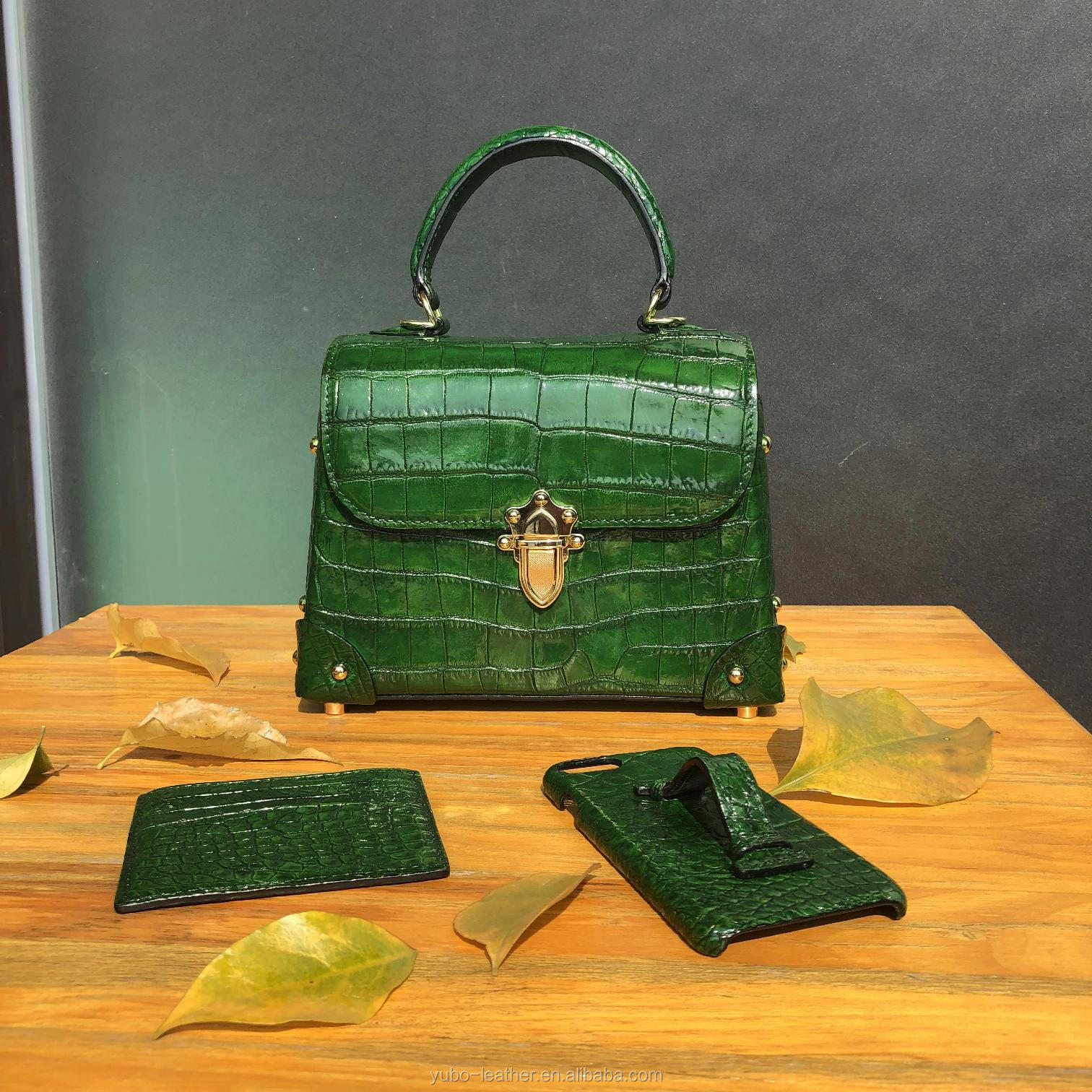 Hand Painted Crocodile Leather Ladies' Handbag , Crocodile Tote Bag for Women