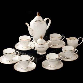 15pcs Gold Hand Painted Fine Bone China Coffee Tea Sets