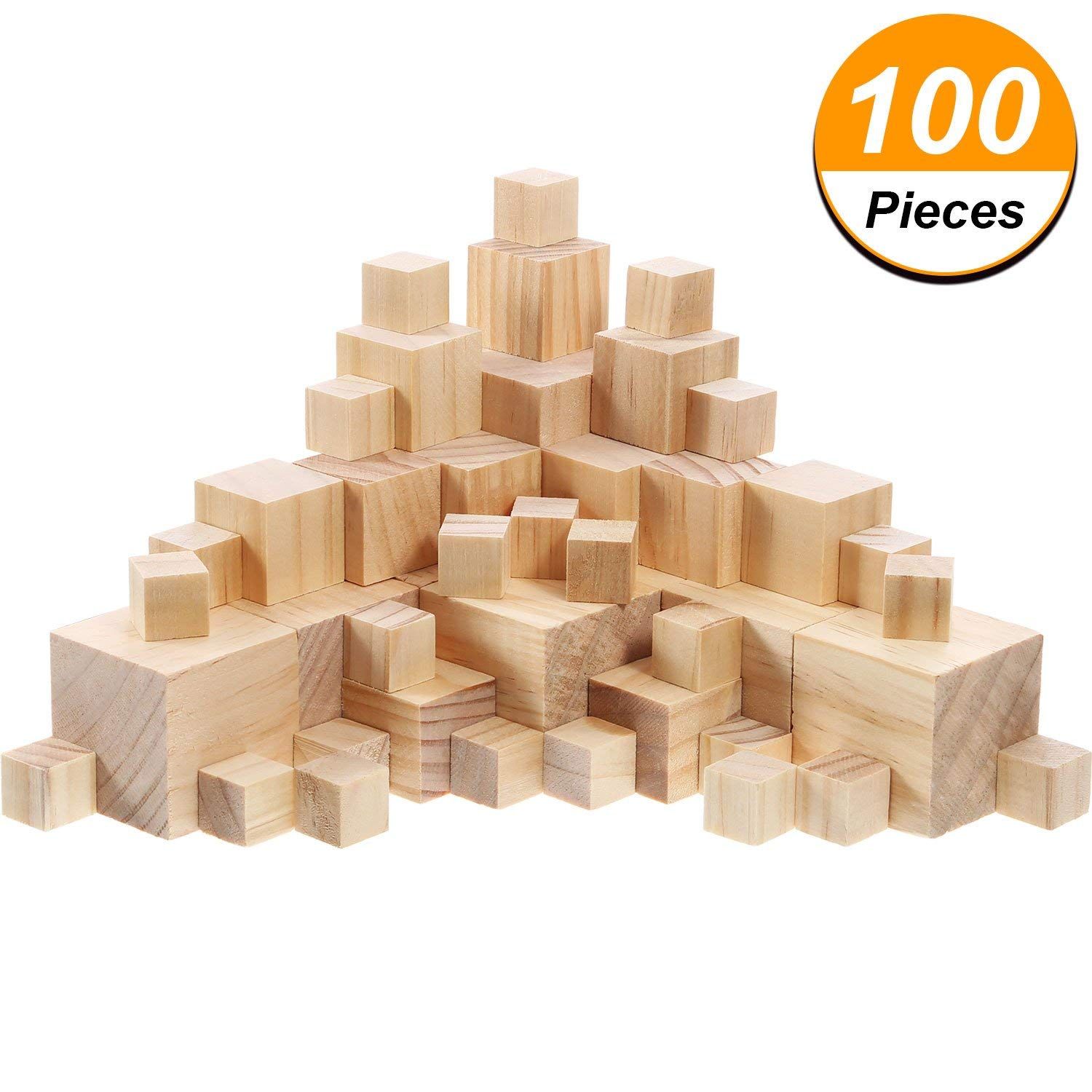 Hicarer 100 Pieces Unfinished Wooden Cubes Solid Natural Wooden Square Blocks for Baby Puzzle Making, Craft and DIY Project, 3 Sizes Mixed
