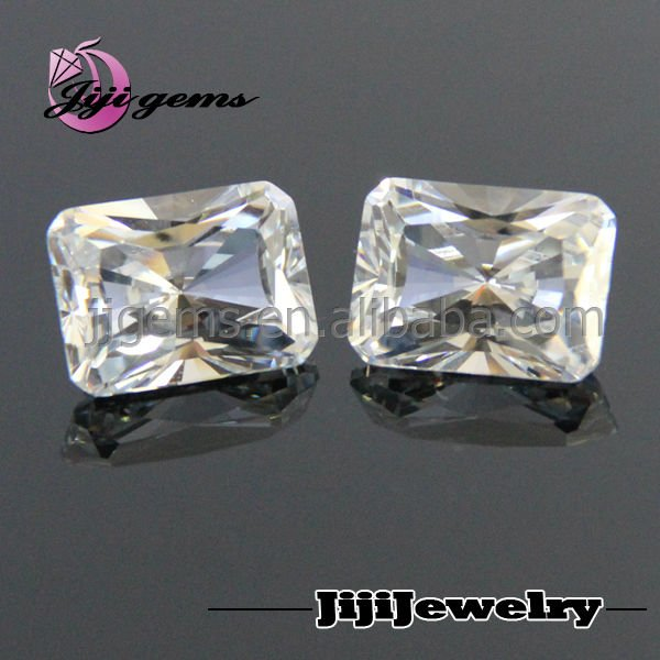 Best-selling rectabgle white cz loose plastic gemstone