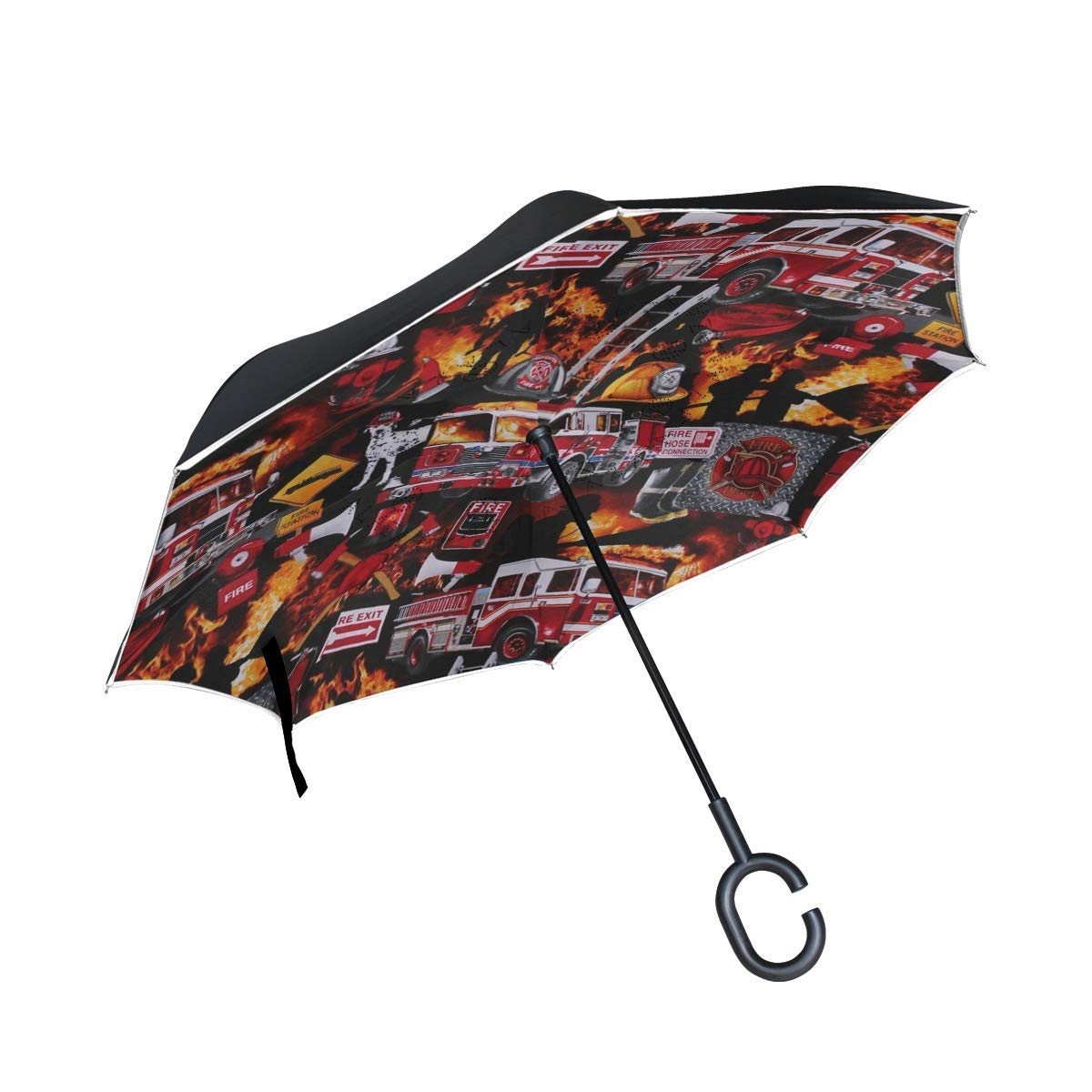 Cute Dalmatian Puppy Windproof Reverse Umbrella for Women with C-Shaped Handle