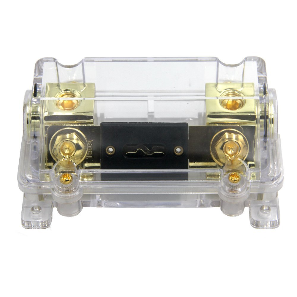 ZOOKOTO 150A Fuse Holder,Car Stereo Audio Inline ANL Fuse Holder 0 2 4 Gauge in out with 150 Amp Fuse